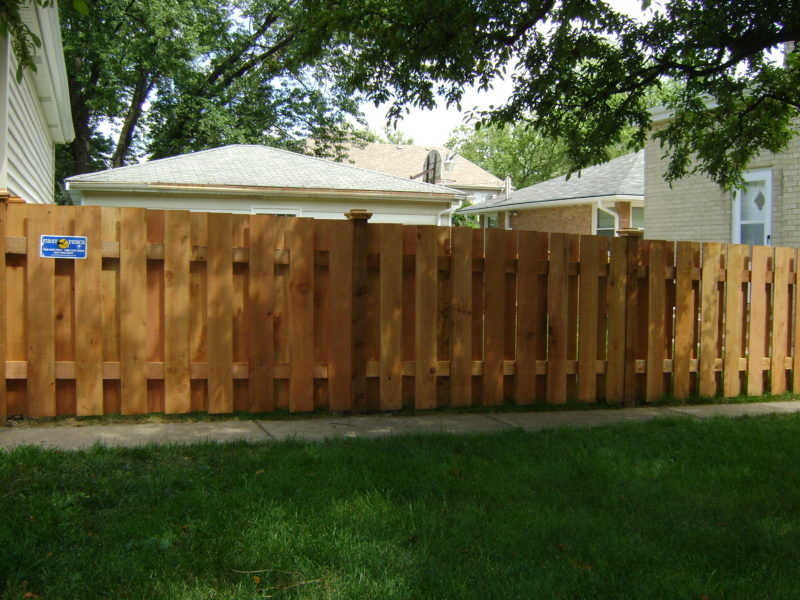 Photo of a shawdowbox wood fence installed by First Fence Company
