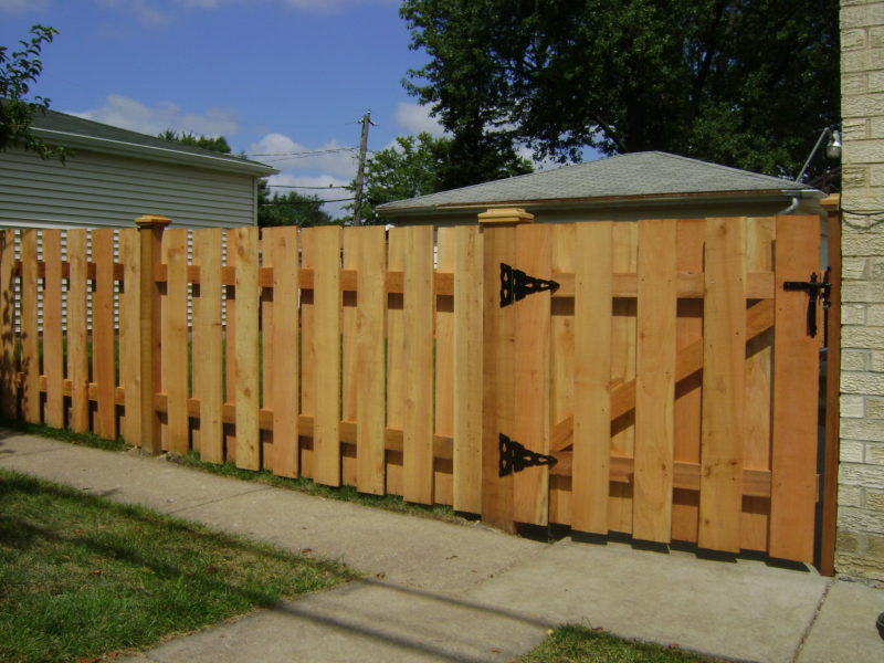 Photo of a shadowbox wood fence installed by First Fence Company