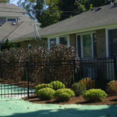 Black aluminum residential fence