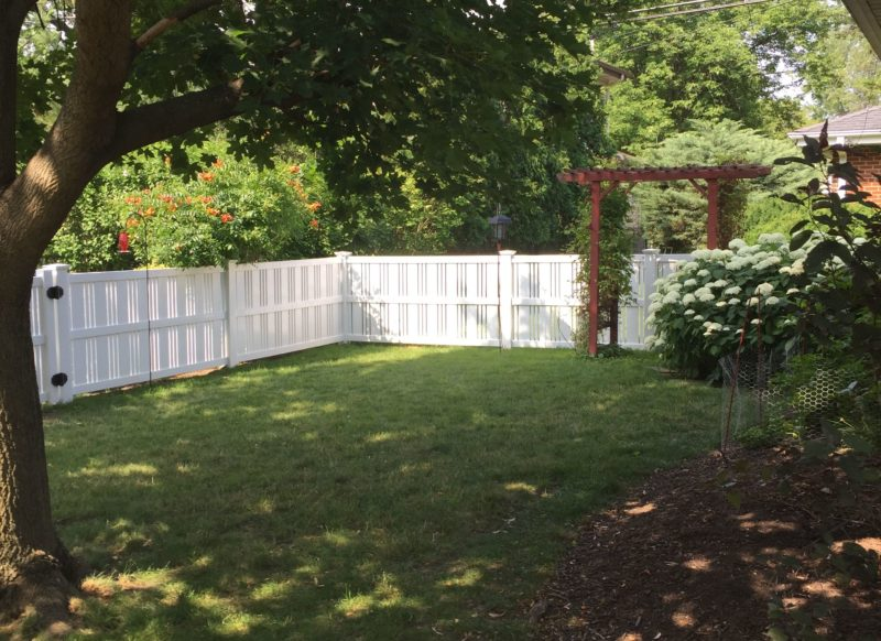Photo of a 4 foot white moline PVC/Vinyl fence installed by First Fence Company