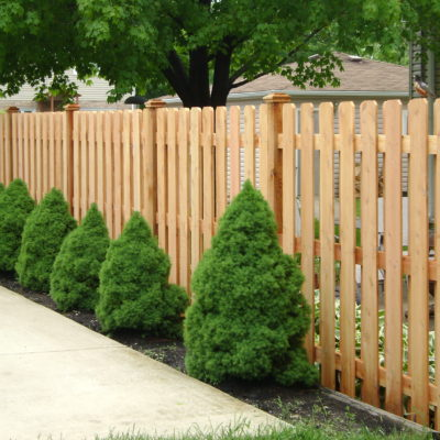 Photo of a 6 foot shadowbox three rail fence designed and installed by First Fence Company