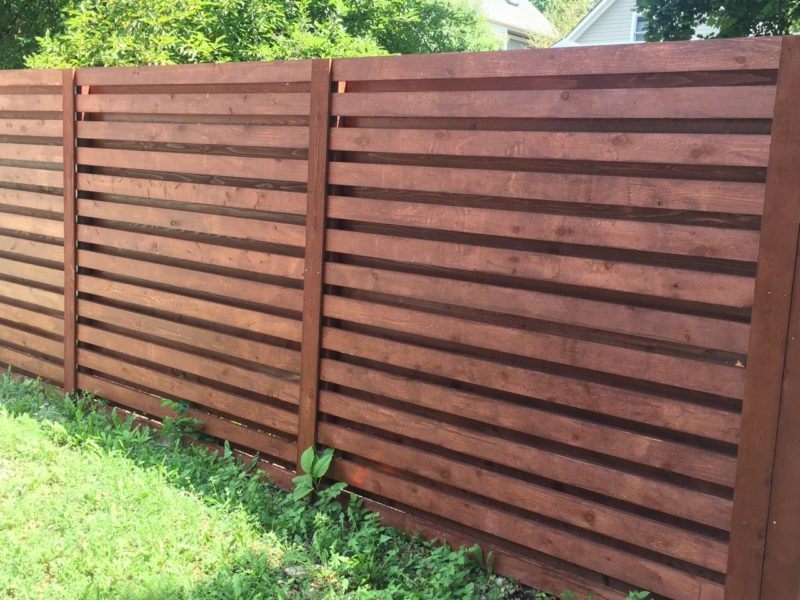 Horizontal Wood Fence. Board On Board Horizontal With Stain