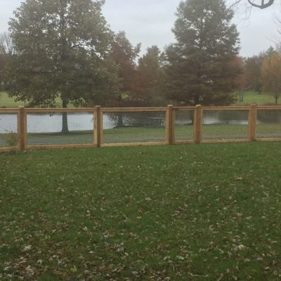 Residential wooden hog fence