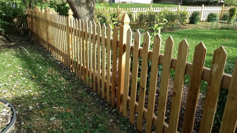 Photo of a point cut picket wood fence with French Gothic posts installed by First Fence Company