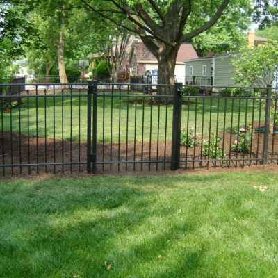 Photo of an aluminum fence and gate installed by First Fence