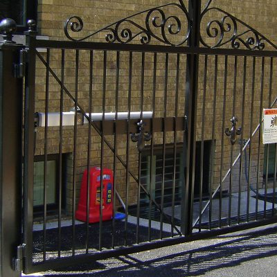 Photo of a commercial access control fence installed by First Fence