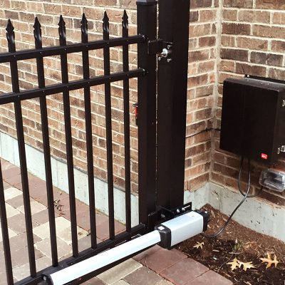 Photo of a fence access control panel installed by First Fence