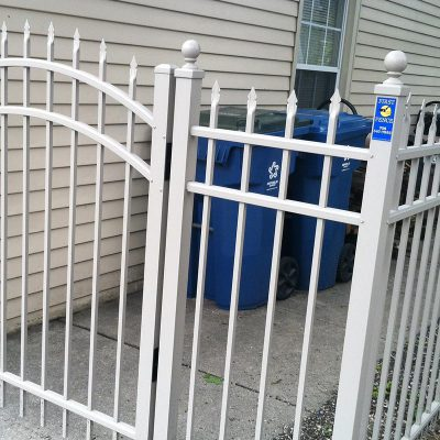 Photo of a custom aluminum spear top fence installed by First Fence Company in Hillside, IL