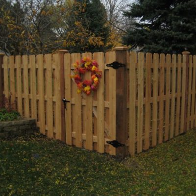 Board on board also known as shadowbox fence installed by First Fence Company