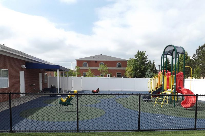 Photo of a custom chain link fence installed by First Fence Company in Hillside, IL