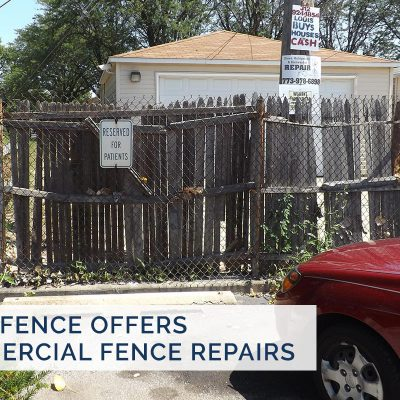 Photo of a commercial chain link fence installed by First Fence Company in Hillside, IL