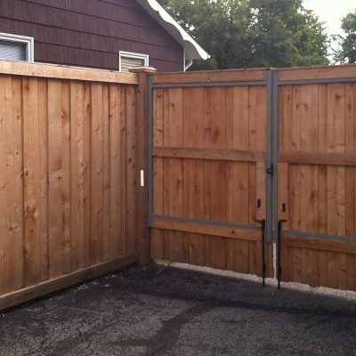 Photo of a custom adjust-a-gate frame installed by First Fence