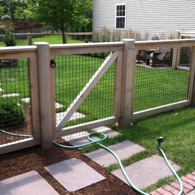 Photo of a custom hog fence installed by First Fence