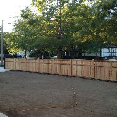 Photo of a custom spaced traditional fence installed by First Fence