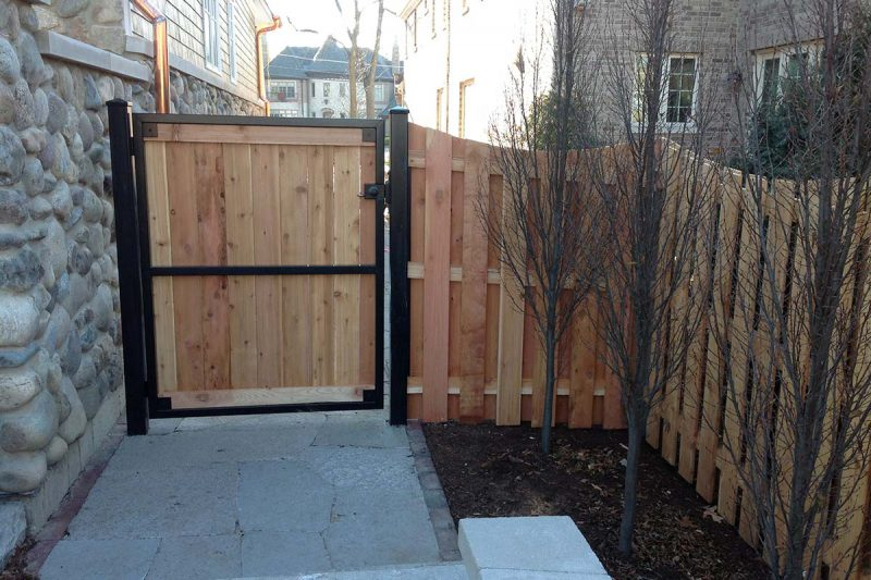 Photo of a custom iron framed gate installed by First Fence