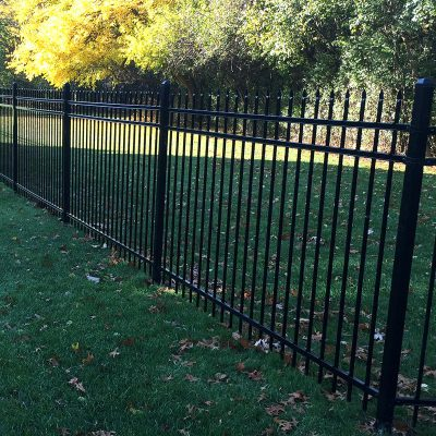 Photo of a custom ornamental steel fence installed by First Fence Company in Hillside, IL