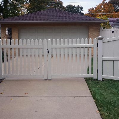 Photo of a custom PVC fence installed by First Fence Company in Hillside, IL