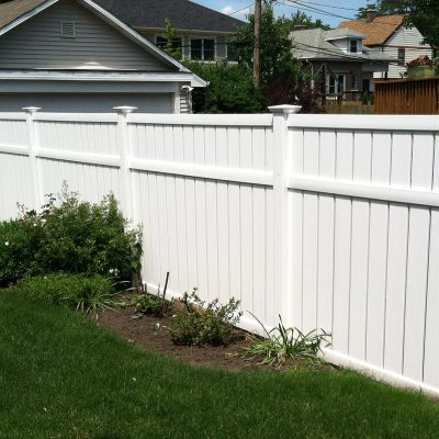 Photo of a custom Vinyl/PVC fence installed by First Fence Company in Hillside, IL