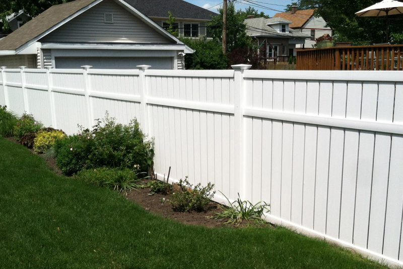 photo of a custom vinylpvc fence installed by first fence company in hillside
