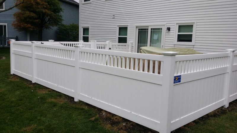 Photo of a semi-private vinyl fence installed by First Fence Company in Hillside, IL