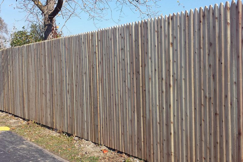 Photo of a custom spear wood fence installed by First Fence Company in Hillside,IL