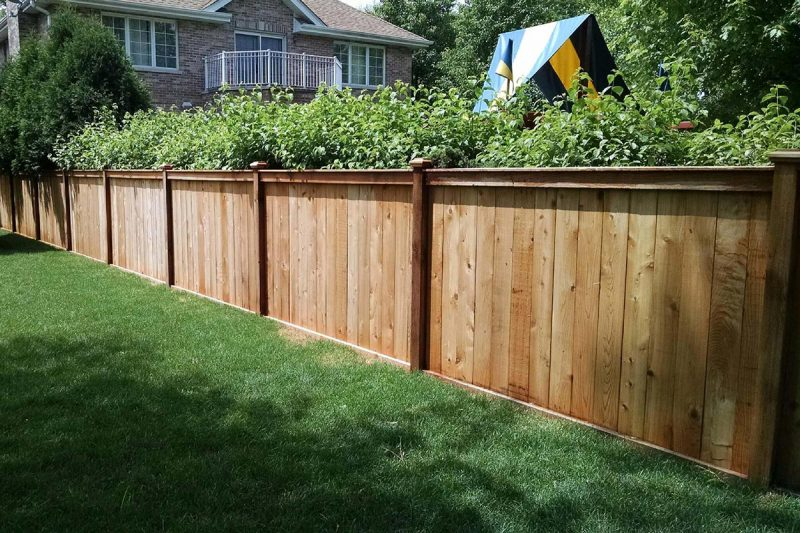 Photo of a custom wood fence installed by First Fence Company in Hillside, IL