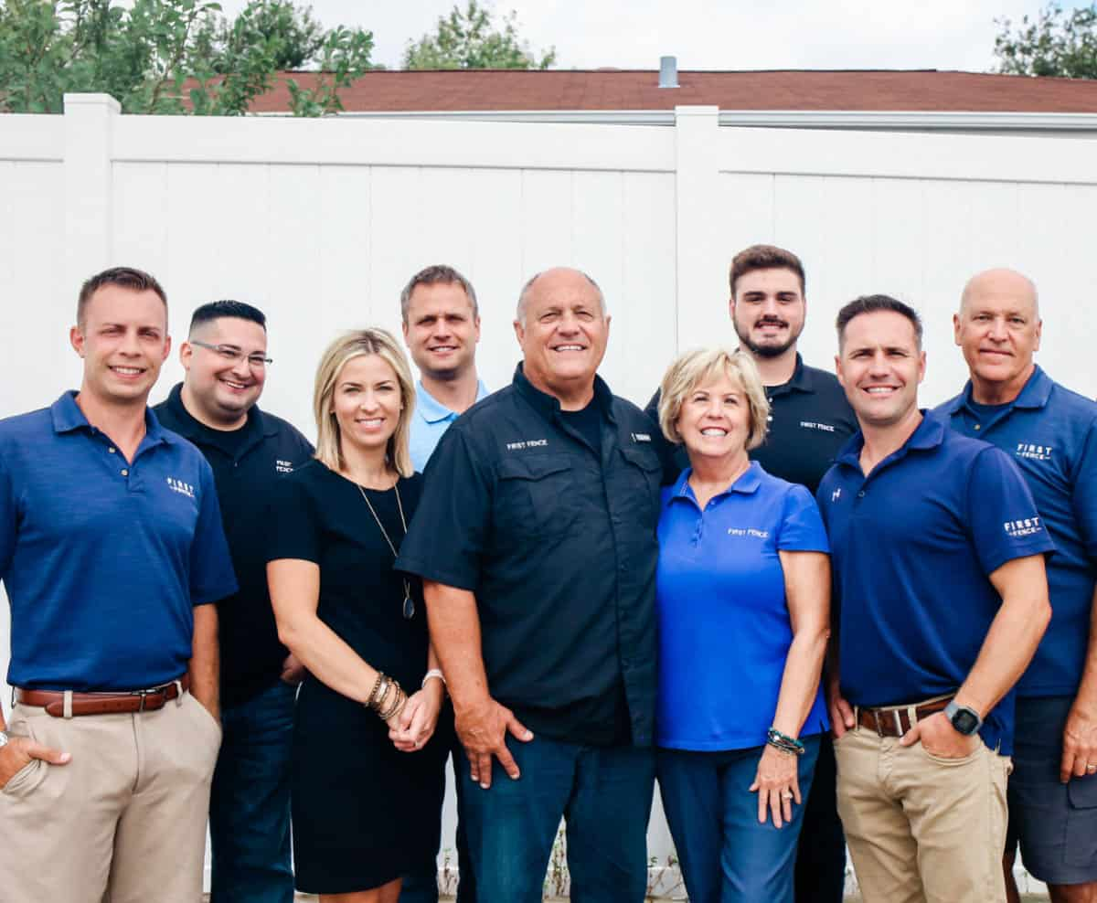 Photo of the First Fence Company team taken in May of 2020